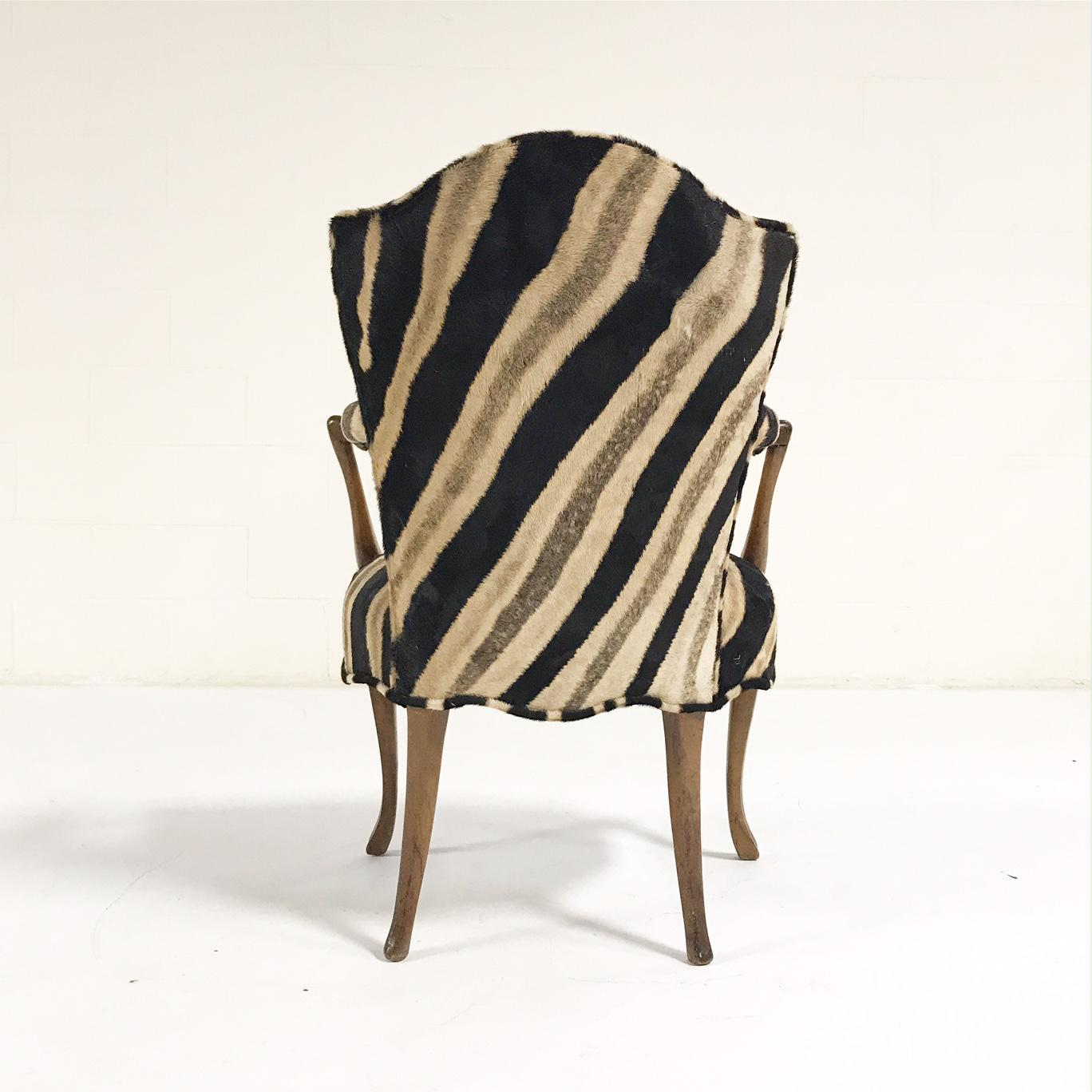 Vintage Wooden Armchair Restored In Zebra Hide   Image 7 Of 11