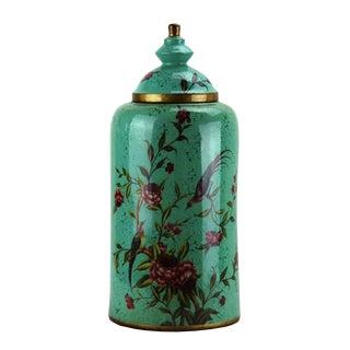 Pasargad DC Modern Contemporary Turquoise Floral Porcelain Jar For Sale
