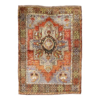 Vintage Colorful Turkish Oushak Rug in Orange, Purple, Green and Brown For Sale