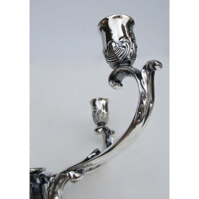C1960's-70's Vintage Georgian-Style Gorham Silverplate Candelabra, 5-Candle Holder Centerpiece For Sale - Image 9 of 13
