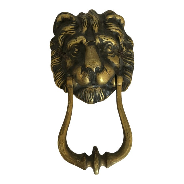 Mid 20th Century Vintage Brass Lion Head Door Knocker For Sale