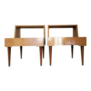 Paul Frankl Bleached Oak and Cork Topped Side Tables - a Pair For Sale