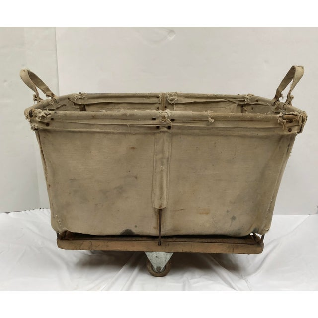 Vintage Industrial Canvas Laundry/Postal Cart For Sale - Image 11 of 11
