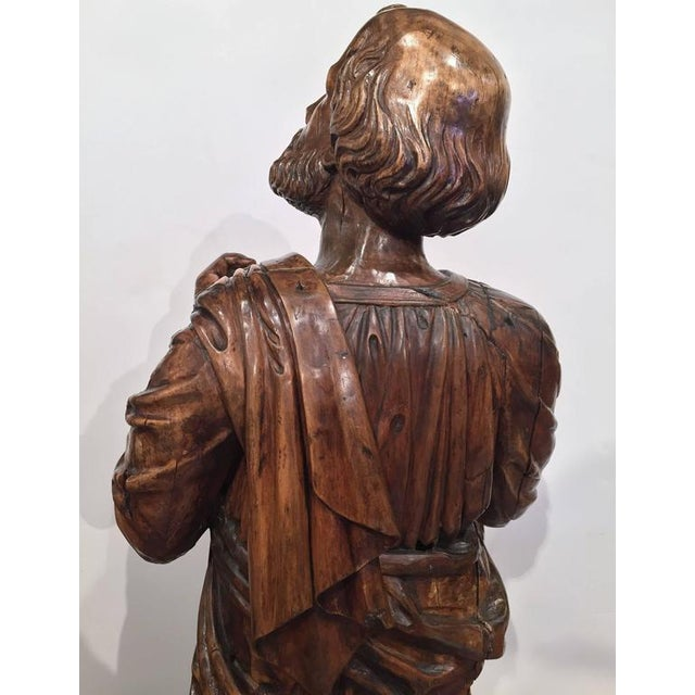 18th Century French Carved Walnut Statue of Saint Peter Kneeling For Sale - Image 10 of 10