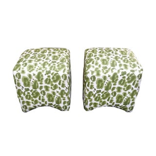 Contemporary Apple Green Linen Leopard Print Upholstered Ottomans - a Pair For Sale