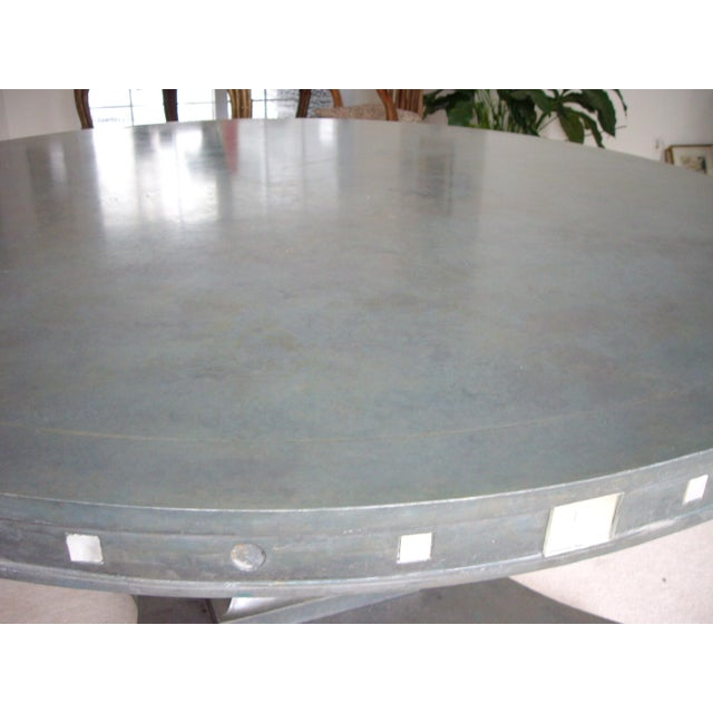 French Provincial Single Pedestal Concrete Dining Table For Sale - Image 4 of 6
