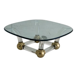 Vintage Acrylic and Brass Base Glass Top Cocktail Table For Sale