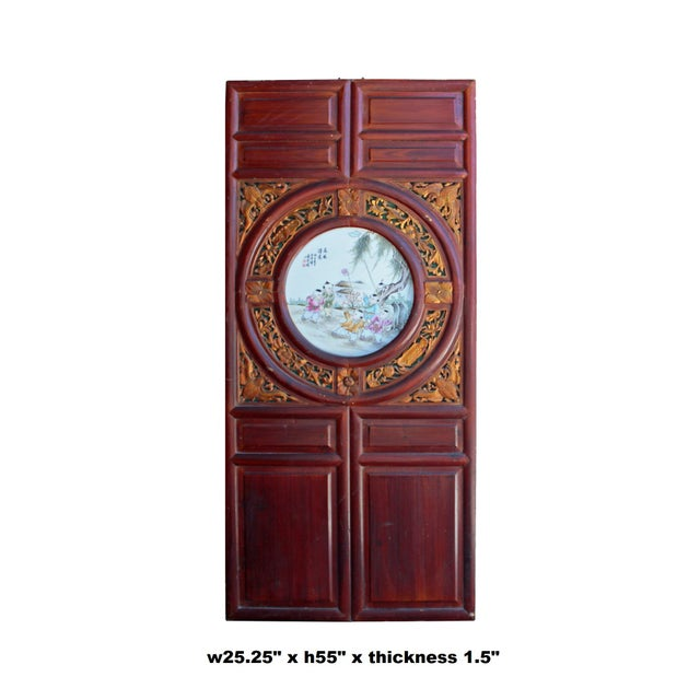 This is a vintage wooden wall decor panel screen with a brown stain finish. It has precise relief carving motif...