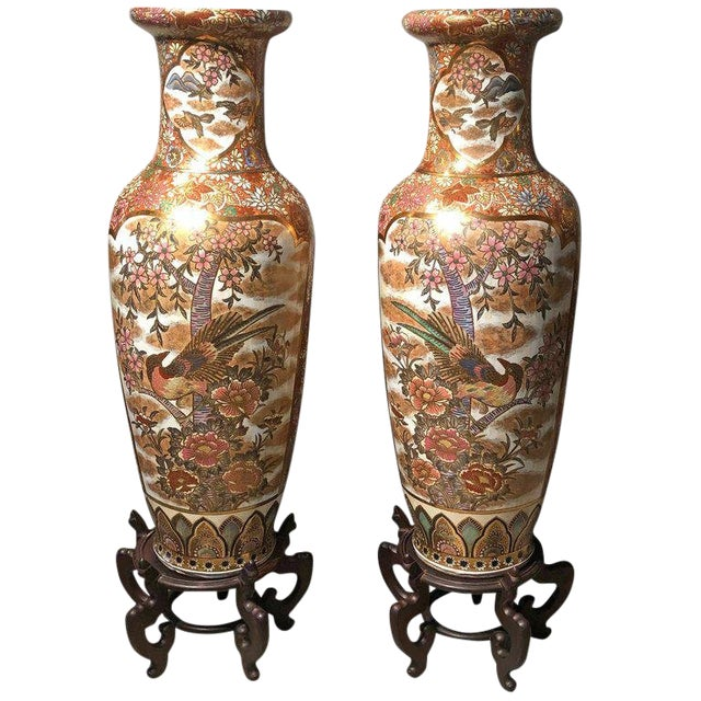 Pair of Chinese Palatial Vases Urns on Teak Pedestals Bird Decorated Signed Base For Sale