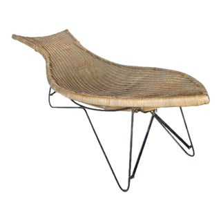 Mid Century American Wicker Chaise Lounge Chair For Sale