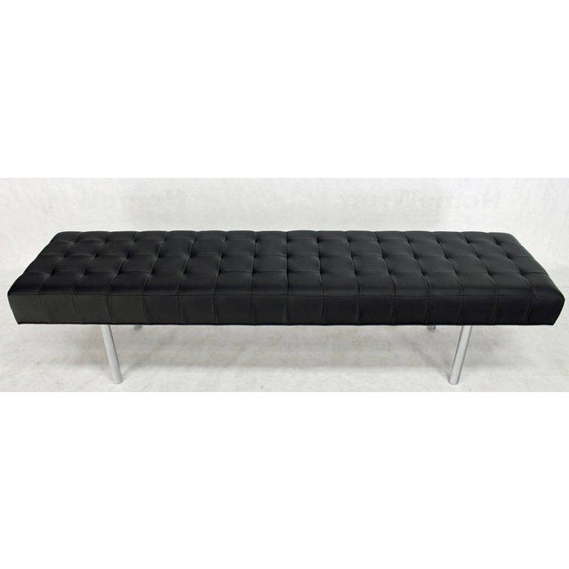 Tufted Black Upholstery Long Modern Bench on Chrome Cylinder Legs For Sale In New York - Image 6 of 6
