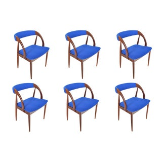 Set of Six Danish Modern Walnut Dining Chairs For Sale