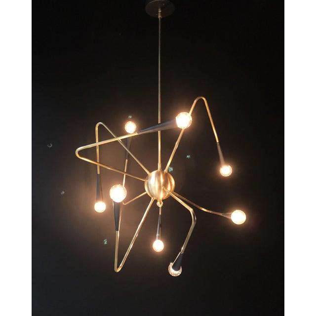 Contemporary 8-Arm Brass Sputnik Chandelier For Sale - Image 3 of 6