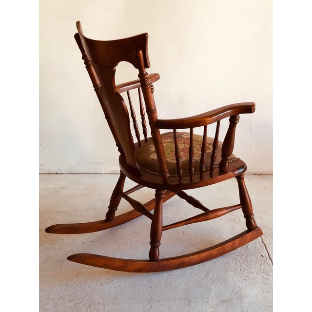 Antique Rosewood Tapestry Rocking Chair Victorian Vintage For Sale - Image 4 of 7