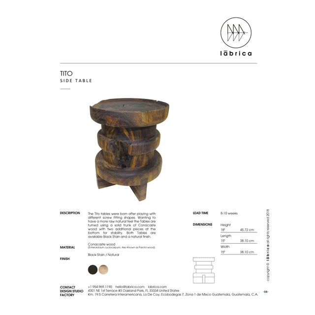 2010s Contemporary Tito Side Table Black Stain Natural Solid Burl by Labrica For Sale - Image 5 of 6