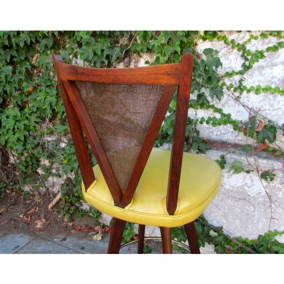 Mid-Century Wicker Back Bar Stools - Set of 3 For Sale - Image 4 of 4