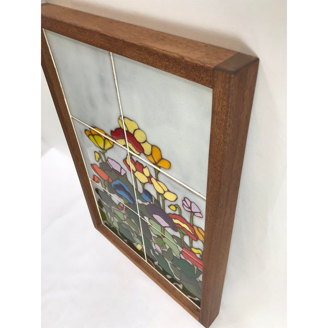Art Nouveau 20th Century Art Nouveau Tile Artwork in Wood Frame by Roberta Goodman For Sale - Image 3 of 13