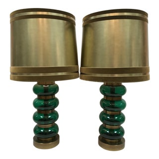 Vintage Paul Hanson Mid-Century Modern Green Glass and Brass Lamps - a Pair For Sale