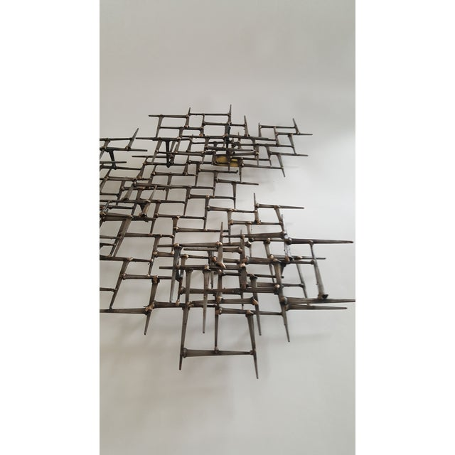 Abstract Metal Bronze & Mason Nails Wall Sculpture For Sale - Image 4 of 7