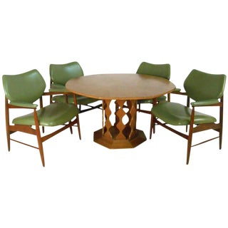 Danish Modern Dining Table With Chairs For Sale