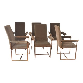 1970s Milo Baughman Chrome and Velvet Dining Chairs- Set of 6 For Sale
