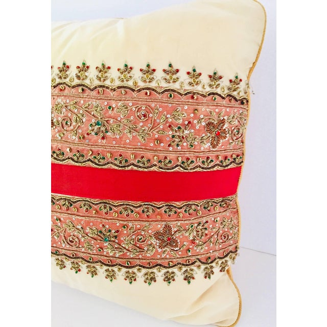 Islamic Decorative Ivory Color Silk Throw Pillow Embellished With Beads For Sale - Image 3 of 10