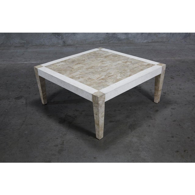 1990s Postmodern Dual Color Tessellated Stone Cube Square Coffee Table For Sale - Image 9 of 13