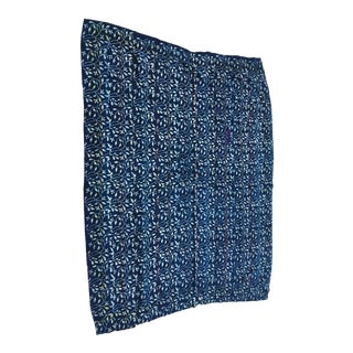 Indigo & White Hand Stitched Kantha Quilt For Sale