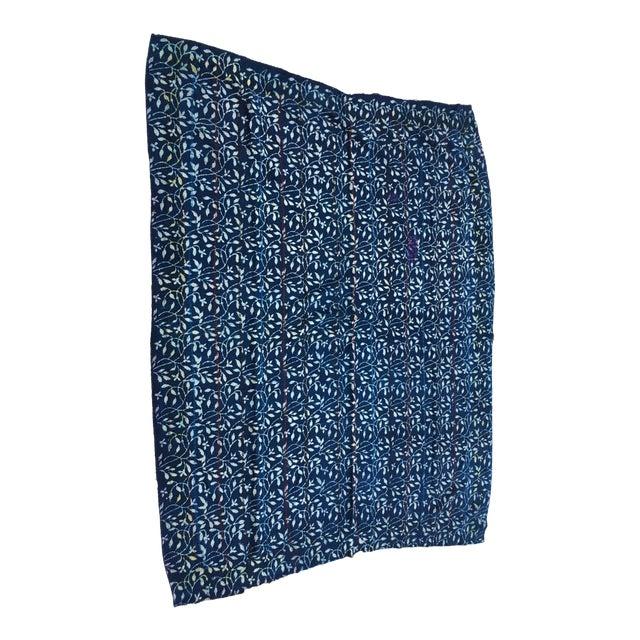 Indigo & White Hand Stitched Kantha Quilt For Sale