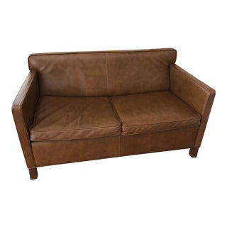 "1920s Mid Century Modern Knoll Mies Van Der Rohe ""Krefeld"" Brown Leather Settee For Sale"