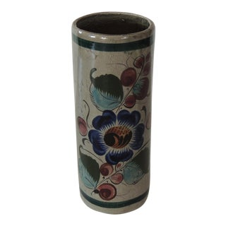 Mexican Talavera Blue and Grey Round Vase For Sale