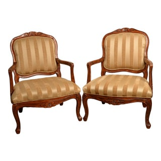 (Final Markdown) French Country/Provincial Chairs Louis XV Style Bergère - a Pair For Sale