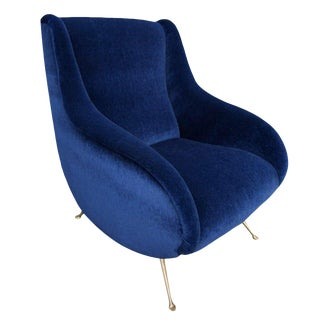 Adesso Imports Blue Mohair and Brass Mia Chair For Sale