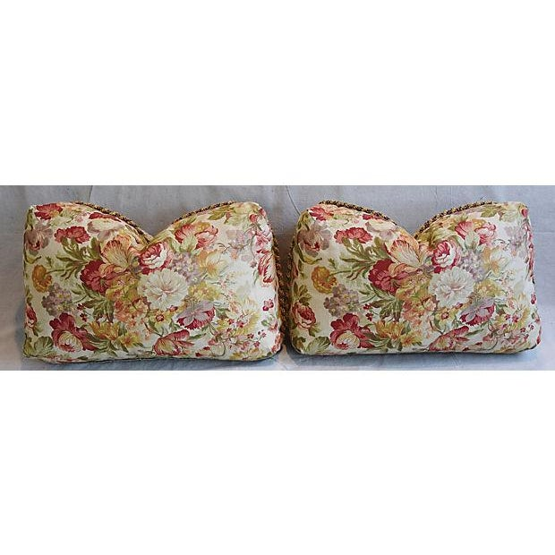 "24"" x 15"" Custom Tailored English Floral Linen Feather/Down Pillows - Pair - Image 5 of 11"
