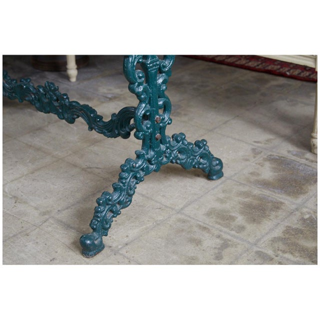 French Cast Iron and Marble Table For Sale In Los Angeles - Image 6 of 7