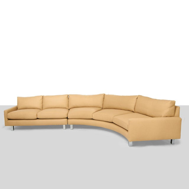 A newly restored two-piece sectional sofa by Milo Baughman for Thayer Coggin. Curved profile and chromed steel legs....