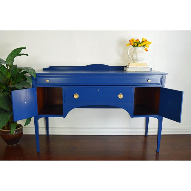 Antique Cherrywood Navy Blue Buffet For Sale - Image 10 of 12