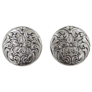 1960s Napier Silvertone Floral Earrings For Sale