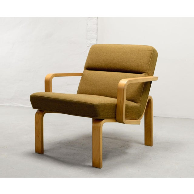 Mid-Century Danish Plywood and Mustard Fabric Lounge Chairs by Rud Thygesen for Magnus Olesen, 1970s For Sale - Image 9 of 12