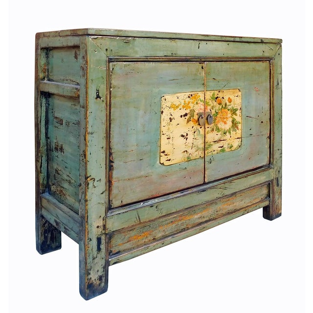Chinese Floral Cabinet in Crackle Blue-Gray For Sale - Image 4 of 8