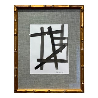 Mid Century Modern Style Artwork With Bamboo Frame II For Sale