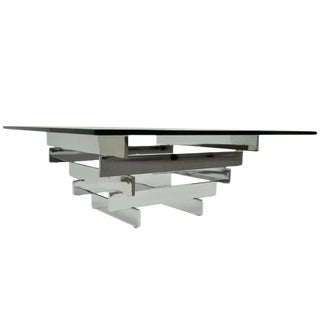 1970s Mid Century Modern Chrome Plated Steel Stacked Coffee Table For Sale