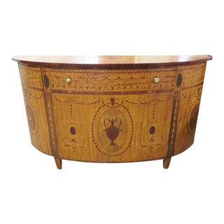 Custom Made Adams Style Inlaid Demilune Commode For Sale