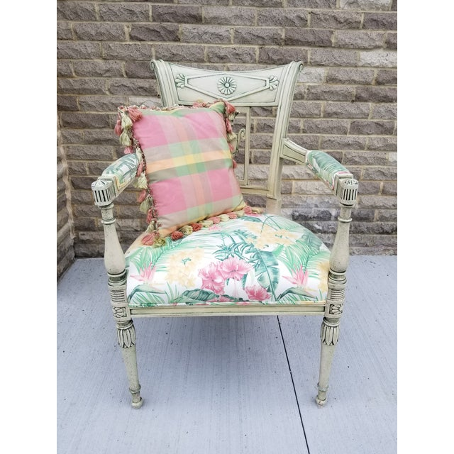 This unique Neoclassical Italian armchair with palm tree and tropical flower fabric will bring a statement to any decor....