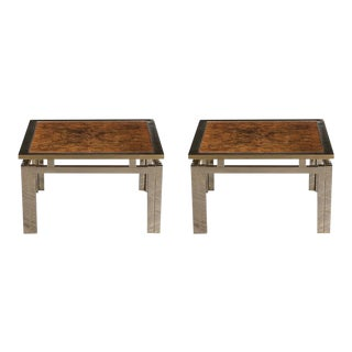 Pair of Mid-Century Modern Geometric Burled Side Tables For Sale