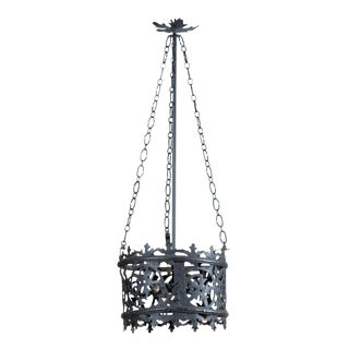 Italian Vintage Round Wrought Iron Chandelier with Frosted Glass