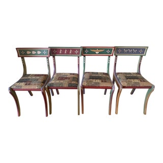 1920s Vintage Hand Painted Dining Chairs-Set of 4 For Sale