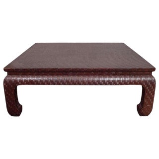 1970s Ming Baker Furniture Grasscloth Linen Wrapped Coffee Table For Sale