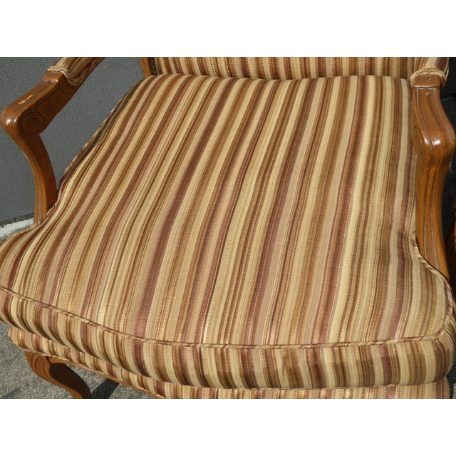 Fabric Vintage French Country Brown Stripped Accent Chairs With Down Cushions - a Pair For Sale - Image 7 of 12