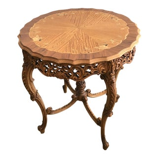 20th Century French Inlaid Wood Entry Table